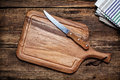 Cutting board and a kitchen knife Royalty Free Stock Photo