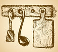 Cutting board, ladle and spatula hanging on hanger. Vector sketc Royalty Free Stock Photo