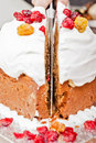 Cutting christmas cake Royalty Free Stock Images