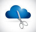 Cutting a cloud illustration design over white background Royalty Free Stock Image