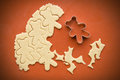 Cutting cookie dough in the shape of a bear still life up christmas cookies from bears Royalty Free Stock Image