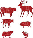 Cutting meat diagram vector illustration of butcher s guide for Royalty Free Stock Photo