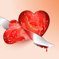 Cutting meat shape heart slices in the of eps Royalty Free Stock Photo