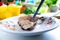 Cutting off chicken skin Stock Photo