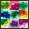 Cutting paper banners. Origami abstract waves with shadows colorful shapes vector backgrounds