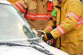 Cutting a post firefighers the with hydraulic rescue cutter at extrication drill in roseburg oregon Stock Images