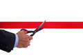 Cutting red tape Stock Photos