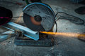 Cutting steel with machine Royalty Free Stock Photo