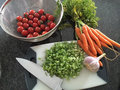 Cutting Summer Vegetables Royalty Free Stock Photo