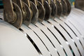 Cutting transformer steel tapes Royalty Free Stock Photo