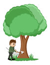 Cutting tree vector illustration conceptual drawing art of man Royalty Free Stock Photo