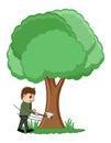 Cutting Tree - Vector Illustration