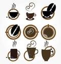 Cuvette de coffee.set. Photographie stock libre de droits