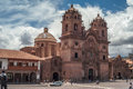 Cuzco church in at plazza de armas Stock Photos