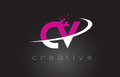 CV C V Creative Letters Design With White Pink Colors