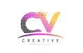CV C V Letter Logo Design with Magenta Dots and Swoosh