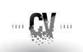 CV C V Pixel Letter Logo with Digital Shattered Black Squares