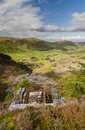 Cwm penmachno with slate quarry incline drum house looking down the welsh valley of derelict disused in foreground snowdonia wales Stock Photos