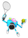 Cyan camera character is a powerful tennis game play exercises create d robot series Stock Photos