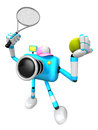 Cyan camera character is a powerful tennis game play exercises create d robot series Stock Photo