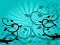 Cyan Floral Fan Background Royalty Free Stock Photo