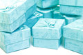 Cyan gift boxes closeup on white background Royalty Free Stock Photography