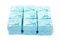 Cyan gift boxes closeup on white background Stock Photo