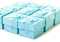 Cyan gift boxes closeup on white background Stock Photography