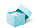 Cyan gift boxes with ring closeup on white background Royalty Free Stock Photography