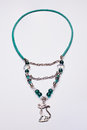 Cyan long necklace with a cat pendant