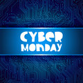 Cyber Monday.Circuit electronic board background Royalty Free Stock Photo