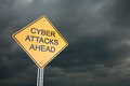 Cyber attacks ahead warning road sign d render Royalty Free Stock Photos