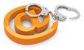 The cyber crime d generated picture of handcuffs with e mail sign Stock Images