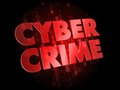 Cyber crime on dark digital background red color text Stock Image