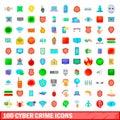 100 cyber crime icons set, cartoon style