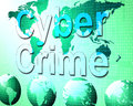 Cyber crime shows world wide web and felony representing unlawful act Stock Photography