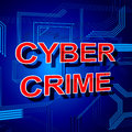 Cyber Crime Sign Shows Theft Spyware And Security Royalty Free Stock Photo