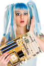 Cyber gothic girl holding mainboard in the hand. Royalty Free Stock Photography