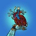 Cyber heart in robot hand