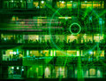 Cyber laser target on a night city blurred background Royalty Free Stock Photo