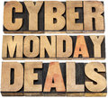 Cyber monday deals online shopping and marketing concept isolated text in letterpress wood type blocks Royalty Free Stock Photo