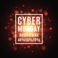 Cyber Monday. Great sale. Brochure for the poster. Background of red lights and glare. A bright flash of light Royalty Free Stock Photo