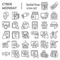Cyber monday line icon set, sales and discount symbols collection, vector sketches, logo illustrations, online shopping