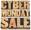 Cyber monday sale online shopping and marketing concept isolated text in letterpress wood type blocks Royalty Free Stock Photo