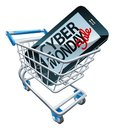 Cyber Monday Sale Phone Trolley Sign Royalty Free Stock Photo
