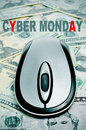 Cyber monday the sentence and a computer mouse on a background full of dollar banknotes Stock Photography