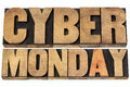 Cyber monday shopping concept online and marketing isolated text in letterpress wood type blocks Royalty Free Stock Photos