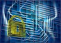 Cyber security abstract background with lock and scheme Stock Photography
