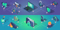 Cyber security horizontal banners with isometric icons