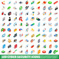 100 cyber security icons set, isometric 3d style